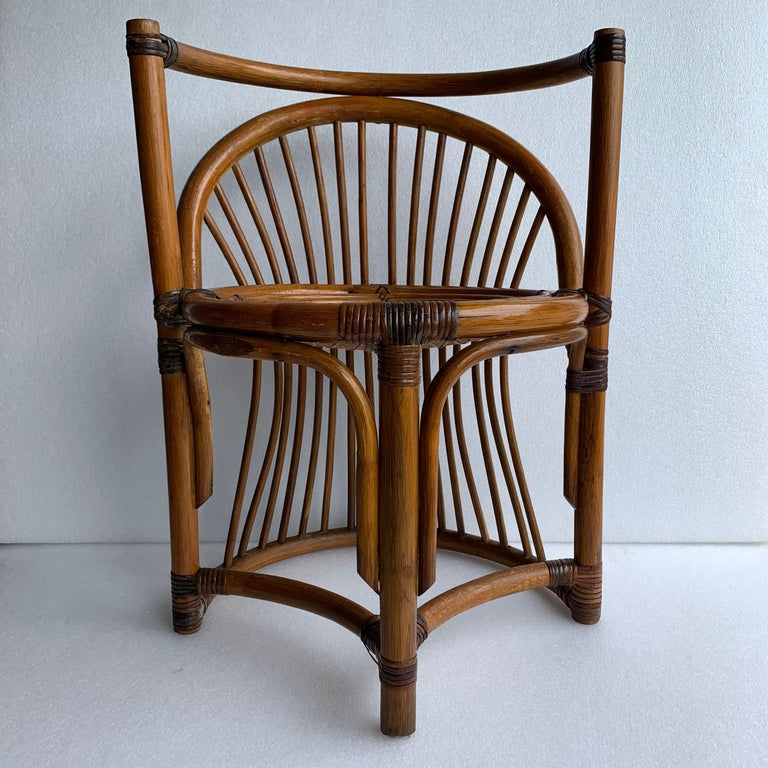 Tiger Wood Bamboo Rattan Dinning Table and Chairs Set  For Sale 4