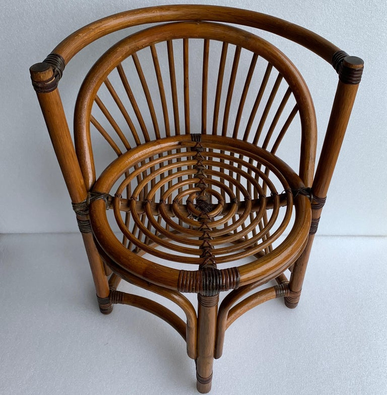 Tiger Wood Bamboo Rattan Dinning Table and Chairs Set  For Sale 5