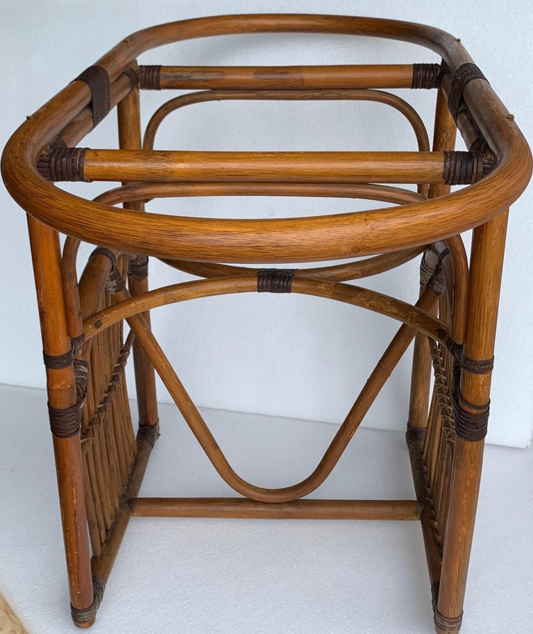 Tiger Wood Bamboo Rattan Dinning Table and Chairs Set  For Sale 11