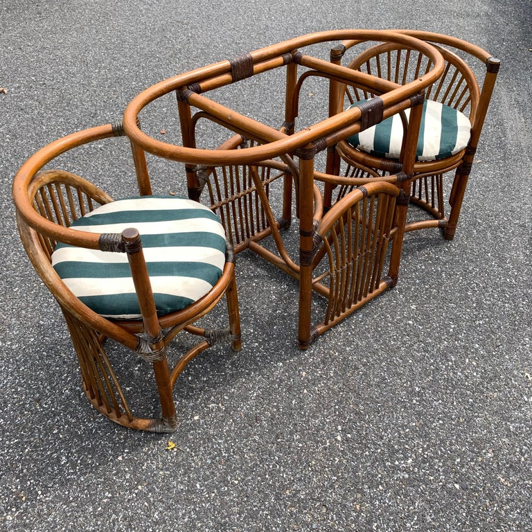 Tiger Wood Bamboo Rattan Dinning Table and Chairs Set  For Sale 12