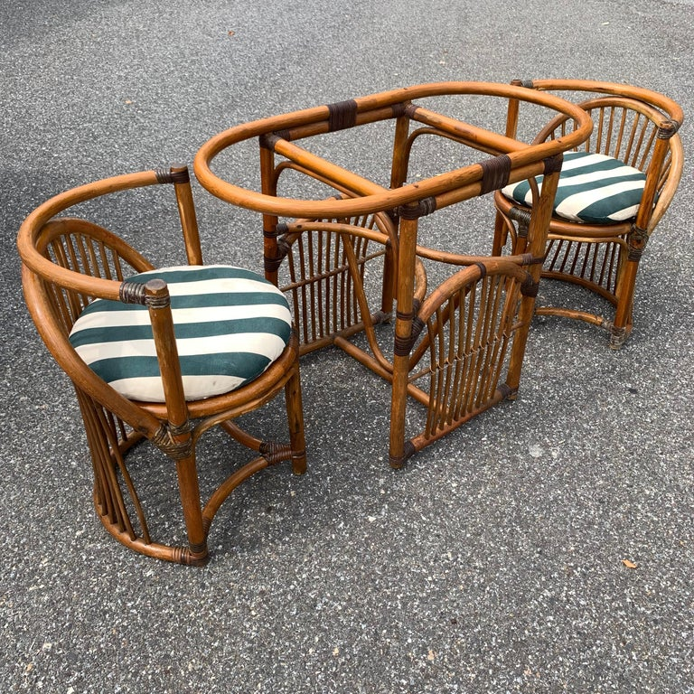 Tiger Wood Bamboo Rattan Dinning Table and Chairs Set  For Sale 13