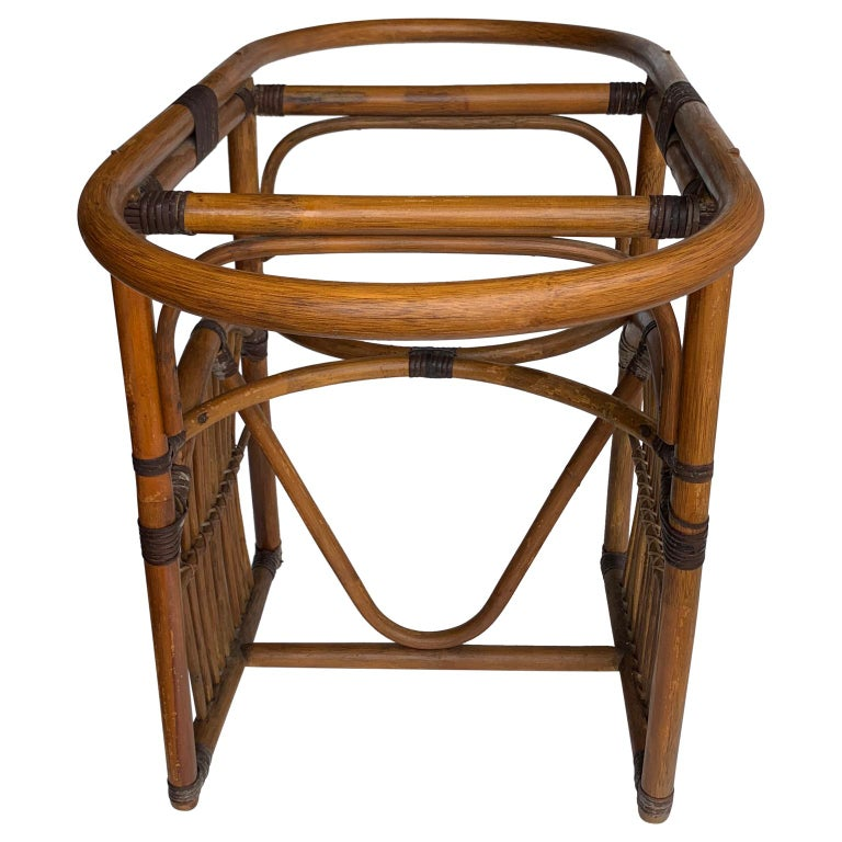 Hand-Crafted Tiger Wood Bamboo Rattan Dinning Table and Chairs Set  For Sale