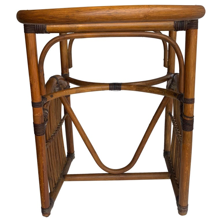 Tiger Wood Bamboo Rattan Dinning Table and Chairs Set  In Good Condition For Sale In Haddonfield, NJ