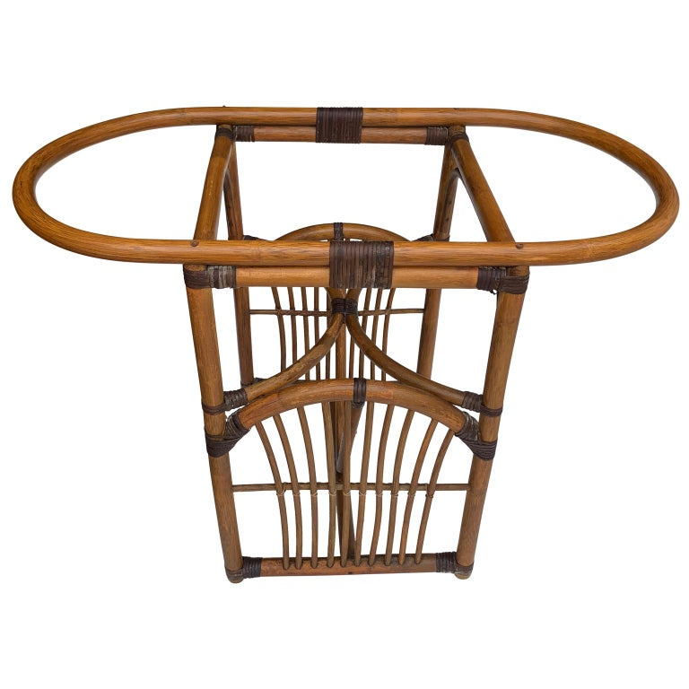 20th Century Tiger Wood Bamboo Rattan Dinning Table and Chairs Set  For Sale