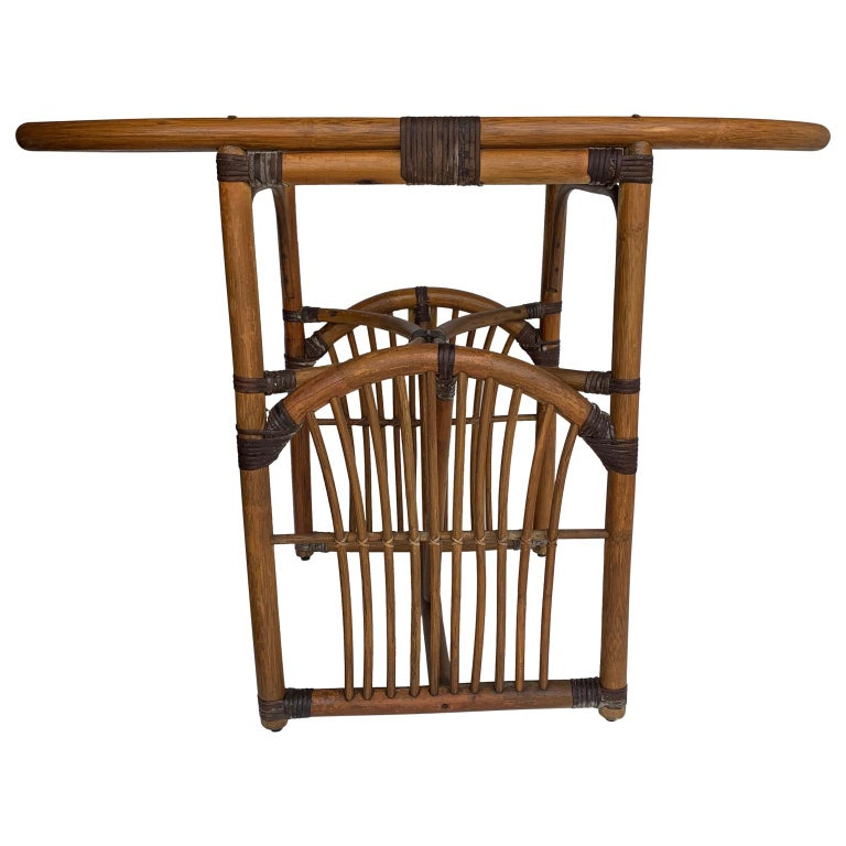 Tiger Wood Bamboo Rattan Dinning Table and Chairs Set  For Sale 1