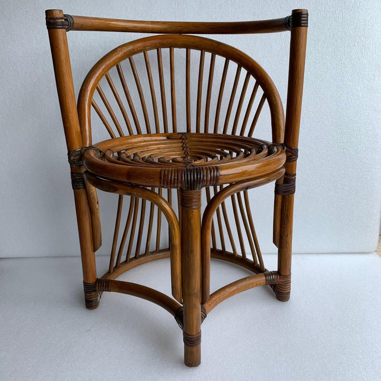 Tiger Wood Bamboo Rattan Dinning Table and Chairs Set  For Sale 3