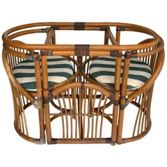 Tiger Wood Bamboo Rattan Dinning Table and Chairs Set