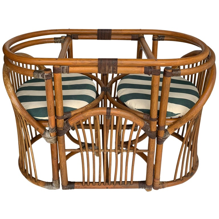 Tiger Wood Bamboo Rattan Dinning Table and Chairs Set  For Sale