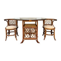 Bamboo Rattan Wicker Cane Table and Chair Set or Dining Set with Glass Top 1970s