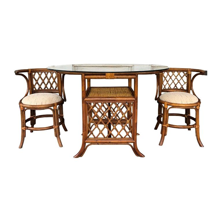 Bamboo Rattan Wicker Cane Table and Chair Set or Dining ...