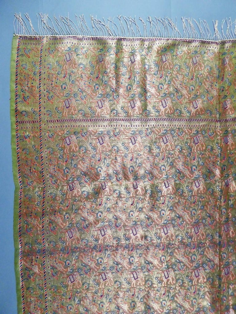 Tigers and elephants embroidered gold Zari shawl India, 20th Century For Sale 1
