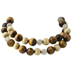 Tiger's Eye and Carved Crystal Beads Gilt Necklace