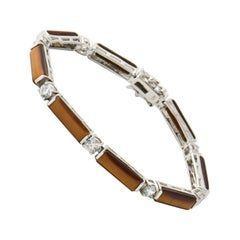 Tiger's Eye and CZ Sterling Silver Line Bracelet