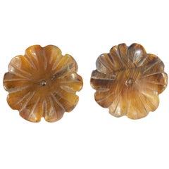 Tiger's Eye Brown Flower 9 Karat Yellow Gold Carved Chic Stud Handmade Earrings