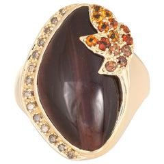 Tigers Eye Citrine Diamond Ring Vintage 14 Karat Yellow Gold Cocktail Jewelry
