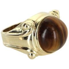 Tigers Eye Cocktail Ring Vintage 14 Karat Gold Estate Fine Jewelry Heirloom