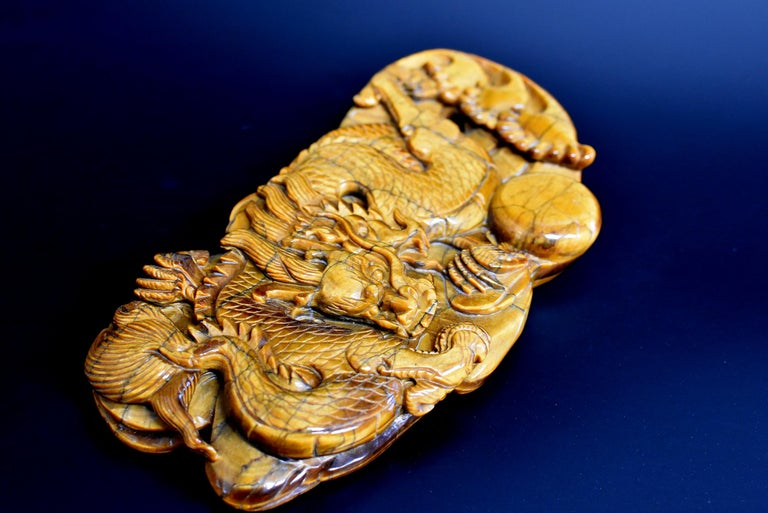 Tiger's Eye Dragon Statue, Hand Carved Gemstone Sculpture For Sale 3