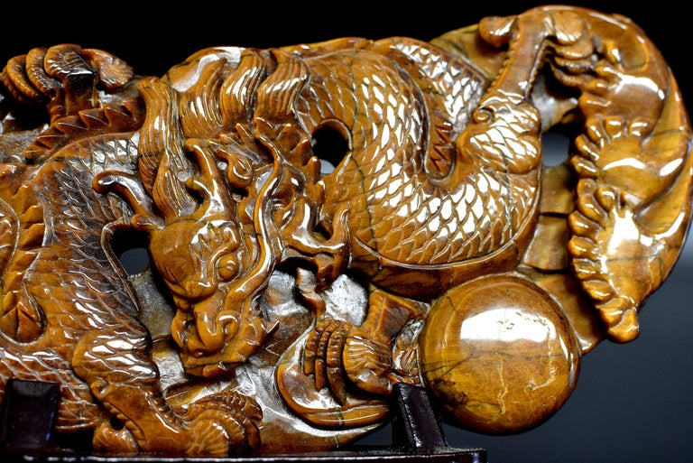 Tiger's Eye Dragon Statue, Hand Carved Gemstone Sculpture For Sale 5