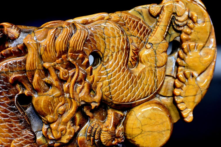 Tiger's Eye Dragon Statue, Hand Carved Gemstone Sculpture For Sale 6