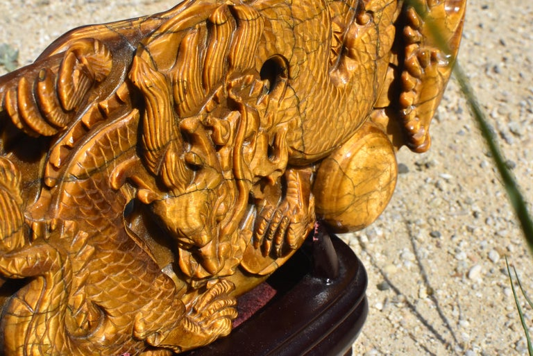 Tiger's Eye Dragon Statue, Hand Carved Gemstone Sculpture For Sale 10