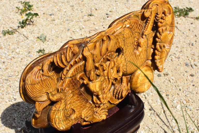 Tiger's Eye Dragon Statue, Hand Carved Gemstone Sculpture For Sale 12