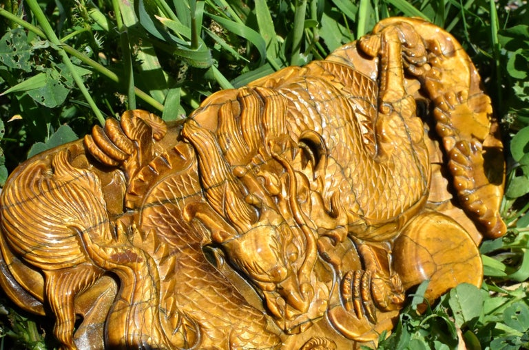 Chinese Tiger's Eye Dragon Statue, Hand Carved Gemstone Sculpture For Sale