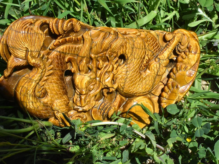 Hand-Carved Tiger's Eye Dragon Statue, Hand Carved Gemstone Sculpture For Sale