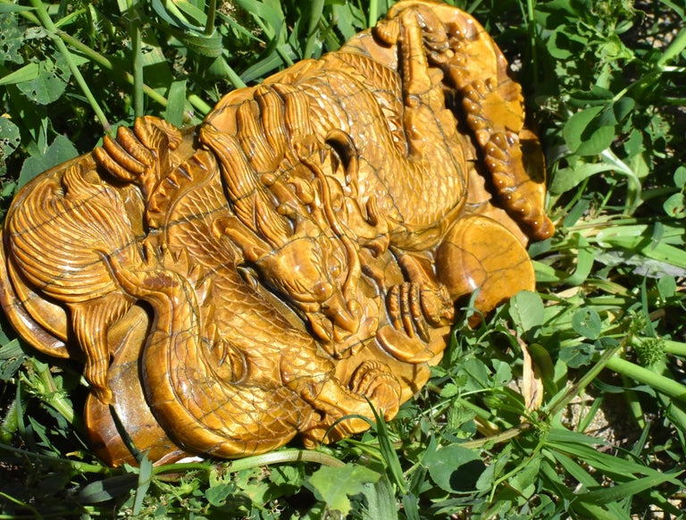 Contemporary Tiger's Eye Dragon Statue, Hand Carved Gemstone Sculpture For Sale