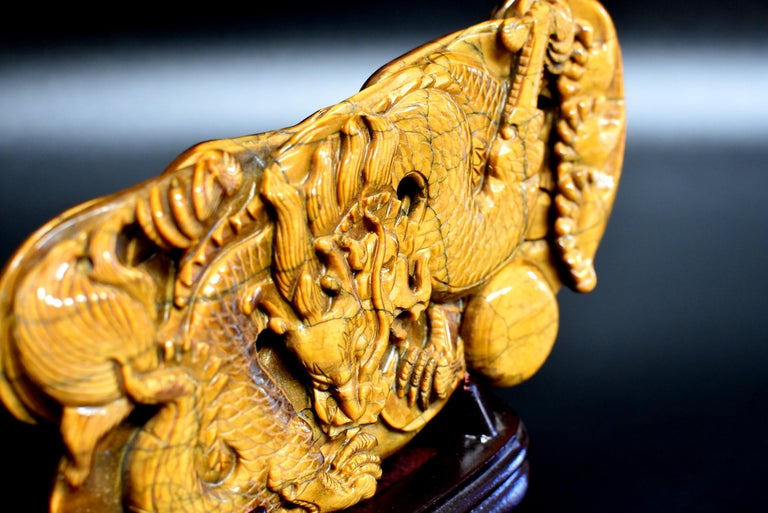 Tiger's Eye Dragon Statue, Hand Carved Gemstone Sculpture For Sale 1