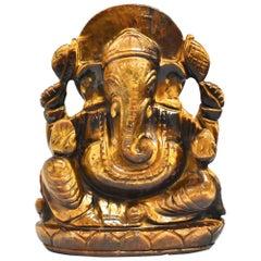 Tiger's Eye Ganesh Statue All Natural Gemstone
