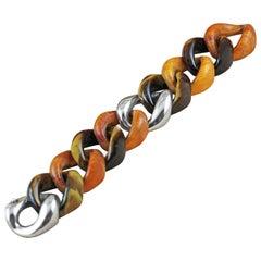 Tiger's Eye Orange Wood 925 Silver Link Bracelet