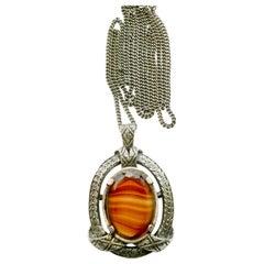 Tiger's Eye Quartz Silver Necklace Pendant