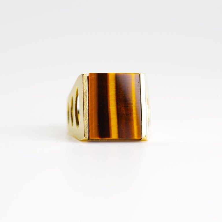 Tiger's Eye Ring from Italy is Definitive 1970s Gent's Ring For Sale 5