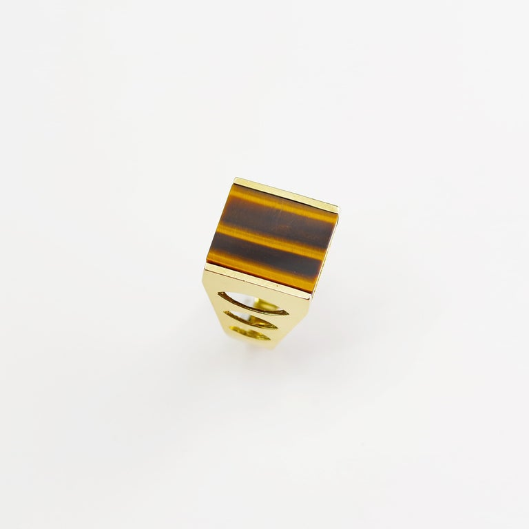 Tiger's Eye Ring from Italy is Definitive 1970s Gent's Ring For Sale 8