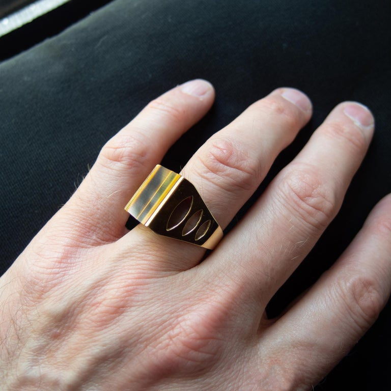 Tiger's Eye Ring from Italy is Definitive 1970s Gent's Ring For Sale 10