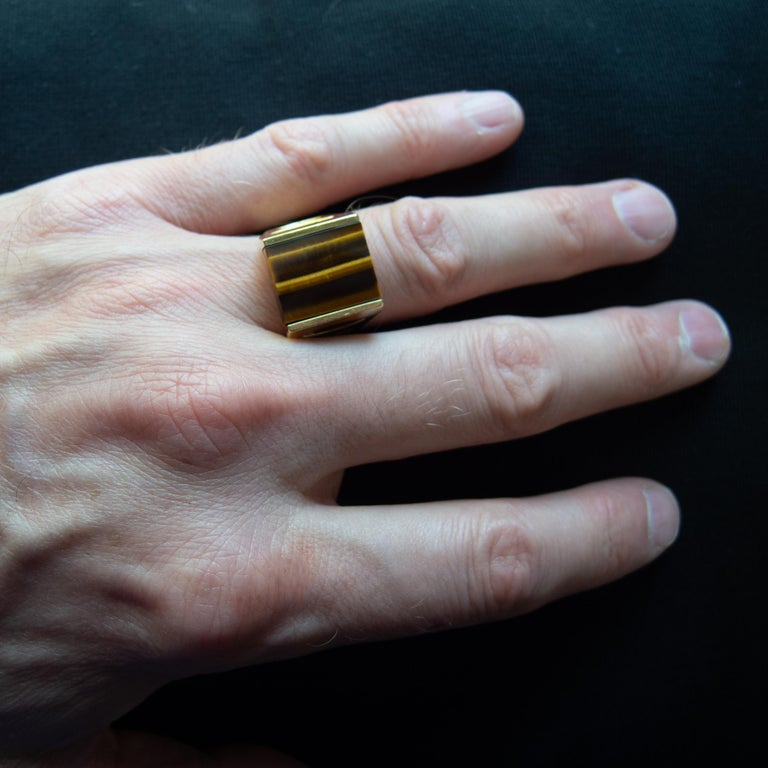 Tiger's Eye Ring from Italy is Definitive 1970s Gent's Ring For Sale 11