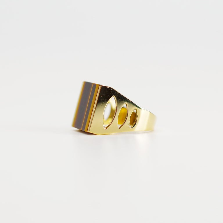 Tiger's Eye Ring from Italy is Definitive 1970s Gent's Ring For Sale 1