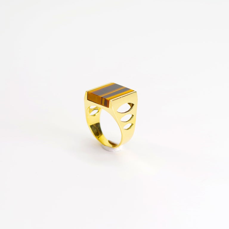 Tiger's Eye Ring from Italy is Definitive 1970s Gent's Ring For Sale 2