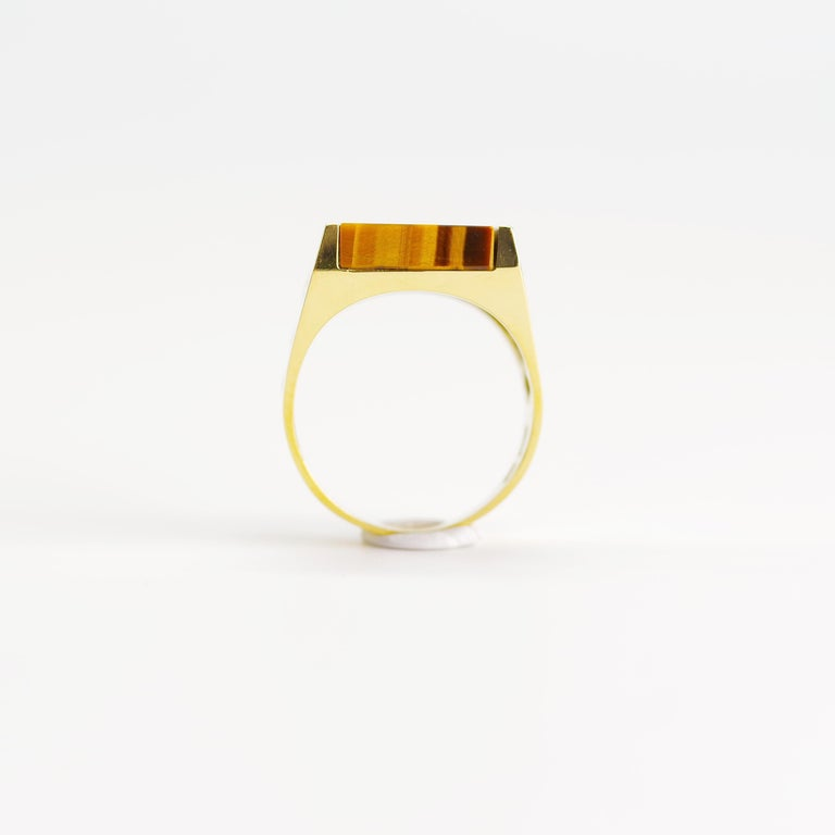 Tiger's Eye Ring from Italy is Definitive 1970s Gent's Ring For Sale 3