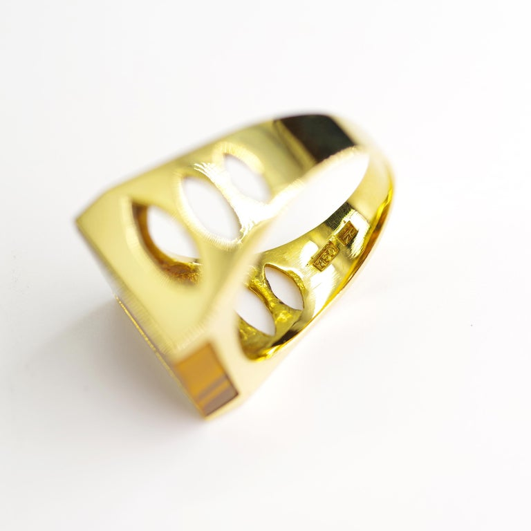 Tiger's Eye Ring from Italy is Definitive 1970s Gent's Ring For Sale 4