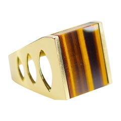 Tiger's Eye Ring from Italy is Definitive 1970s Gent's Ring