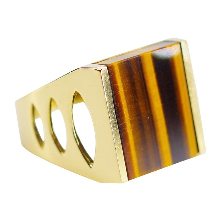 Tiger's Eye Ring from Italy is Definitive 1970s Gent's Ring For Sale