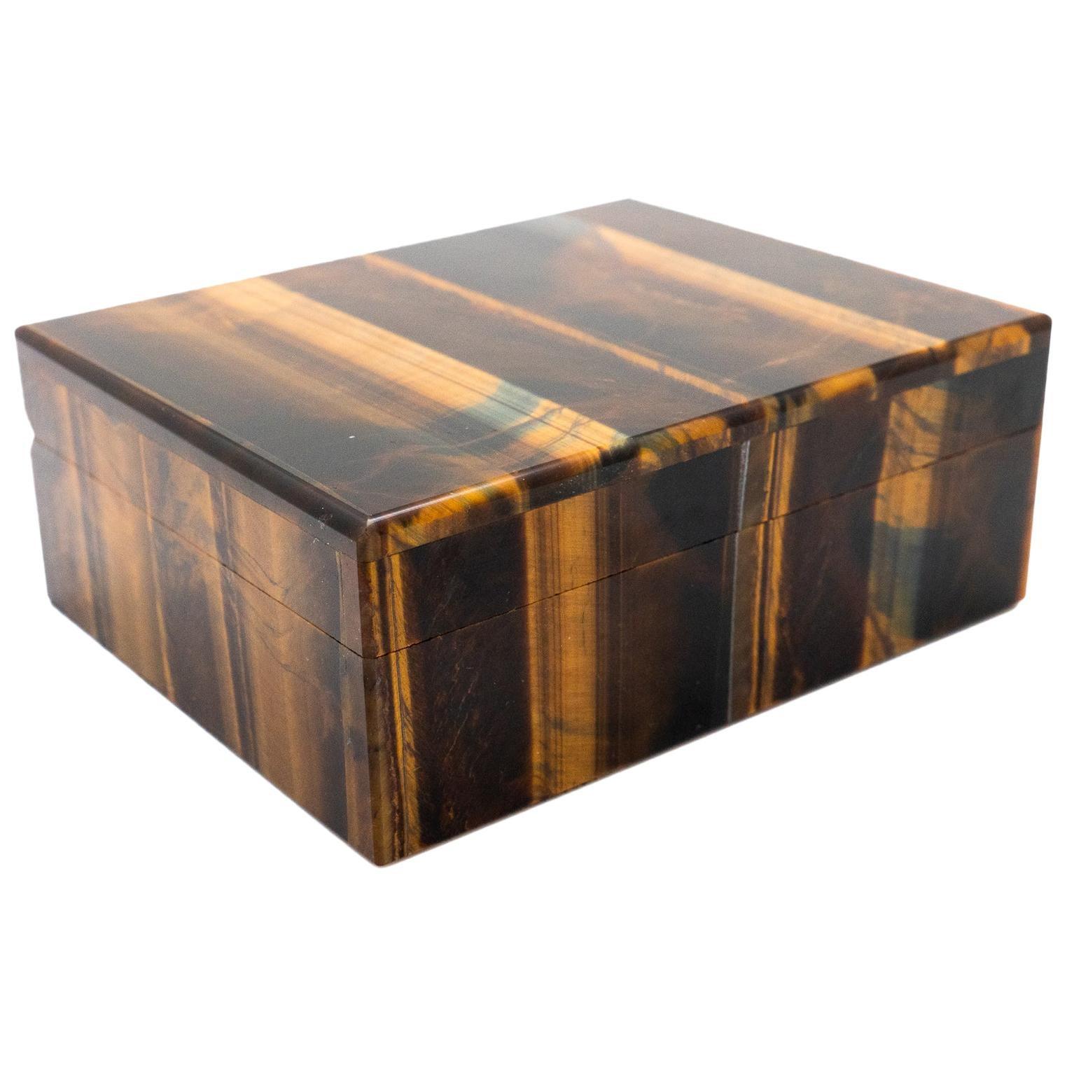 Tiger's Eye Semi-Precious Stone Box