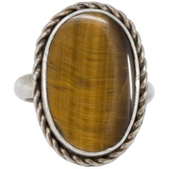 Tiger's Eye Sterling Silver Bezel Fashion Ring, Vintage Mid 1900s