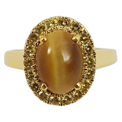Tiger's Eye with Yellow Sapphire Ring Set in 18 Karat Gold Settings