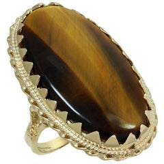 Tiger's Eye Yellow Gold Handcrafted Ring