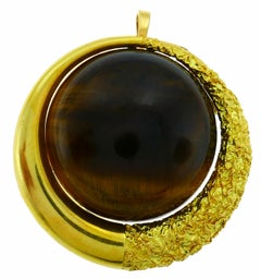 Tiger's Eye Yellow Gold Pendant Pin Brooch Clip French