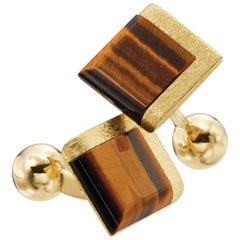 Tigers Eyes 18 Karat Yellow Gold Square Cufflinks