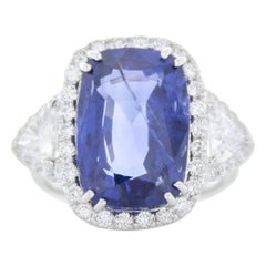TIGI Certifi1ed 10.11 Carat Cushion Cut Blue Sapphire & Diam Ring in 18k Gold