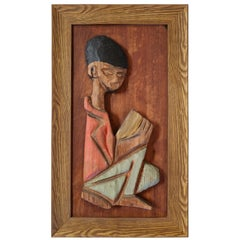 Tiki-Inspired Wall Sculpture of Little Boy by William Westenhaver